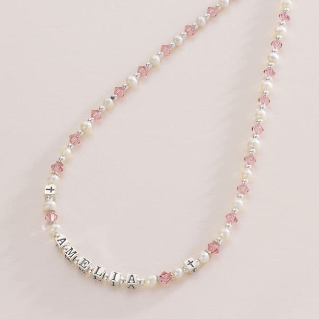 Girls Personalised Name Necklace with Real Pearls | Jewels 4 Girls