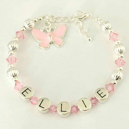 Girls Pink Name Bracelet with Butterfly Charm