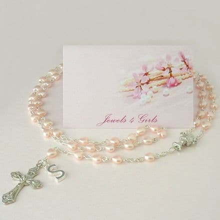 Girls Rosary with Pretty Pink Heart Beads