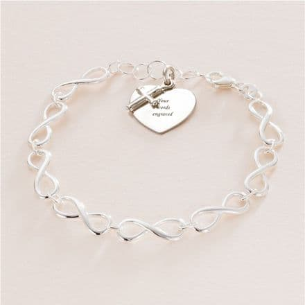 Girls Silver Communion Charm Bracelet with Engraving