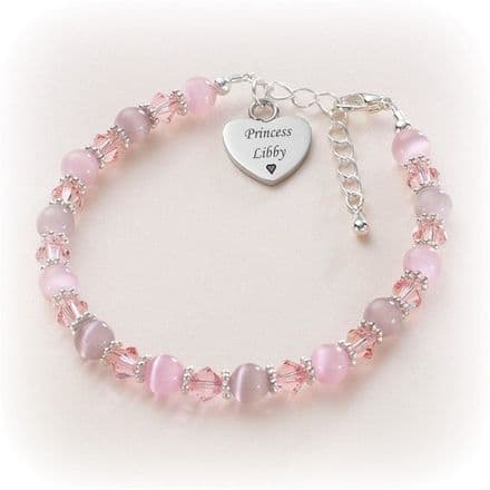 Girls Sparkly Bracelet with Engraved Heart