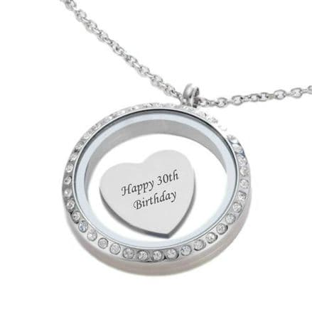 Glass Locket with Engraving on Charm