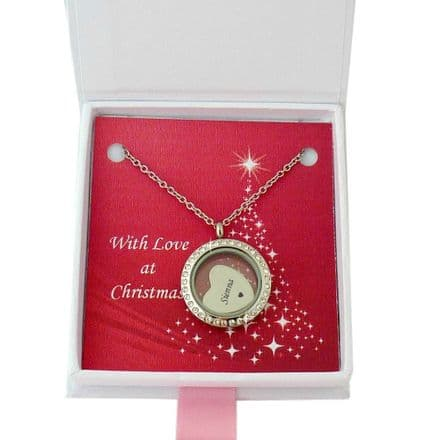 Glass Memory Locket with Engraving for Christmas