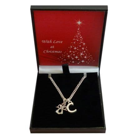 Guardian Angel Christmas Necklace with Letter Charm, Gift for Women or Girls