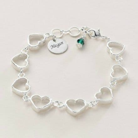 Heart Chain Birthstone Bracelet with Engraving