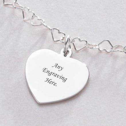 Heart Link Personalised Necklace with Engraving