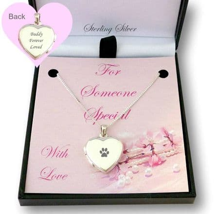 Heart Locket Necklace with Paw and Personalised Engraving