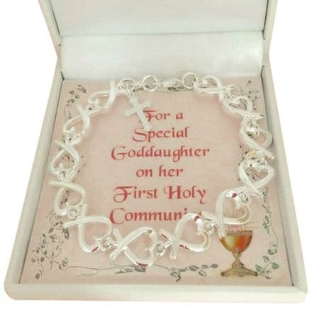 Hearts Bracelet for First Holy Communion with Card Choice