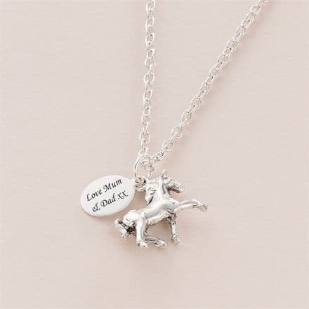 Horse Necklace Personalised with Engraved Tag