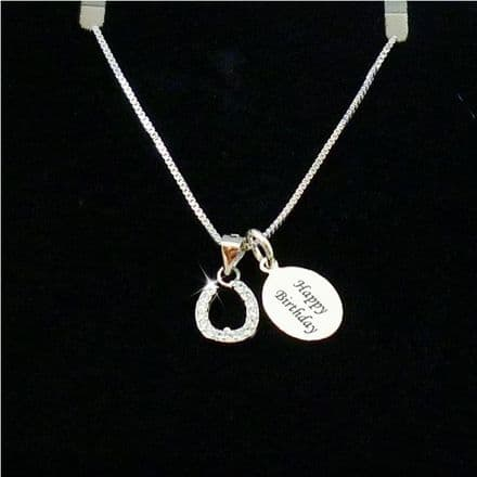 Horseshoe Birthday Necklace with Engraved Tag. Sterling Silver