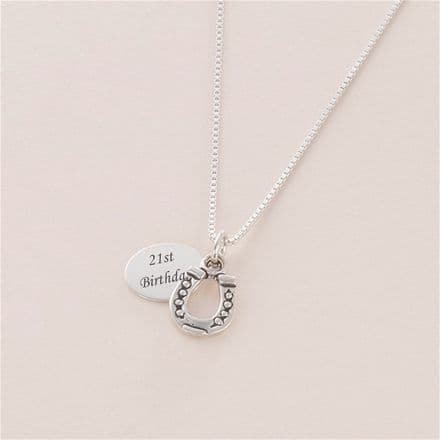 Horseshoe Necklace with Engraving, Sterling Silver