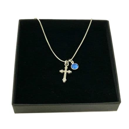 Inexpensive Cross Necklace with Birthstone