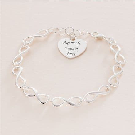Infinity Bracelet, Sterling Silver with Engraved Heart