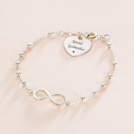 Infinity Link Bracelet for Special Godmother, Stg Silver with Engraving