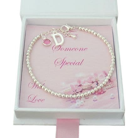 Initial Charm Bracelet with Birthstone in Special Gift Box