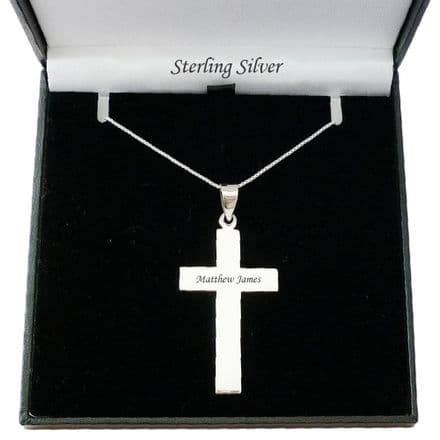Large Engraved Solid Silver Cross Necklace