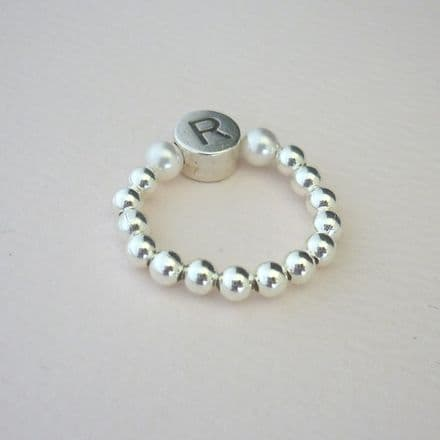 Letter Bead Single Ring