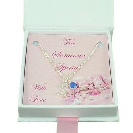 Letter Necklace with Birthstone Charm