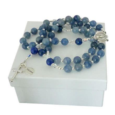 Luxury Personalised Rosary - Blue Aventurine