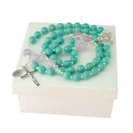 Luxury Personalised Rosary - Turquoise & Lilac Amethyst