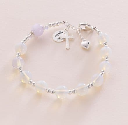 Moonstone Rosary Bracelet With Engraving