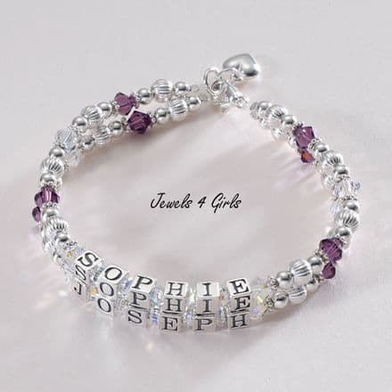 Mothers Bracelet Two Names on Two Strands