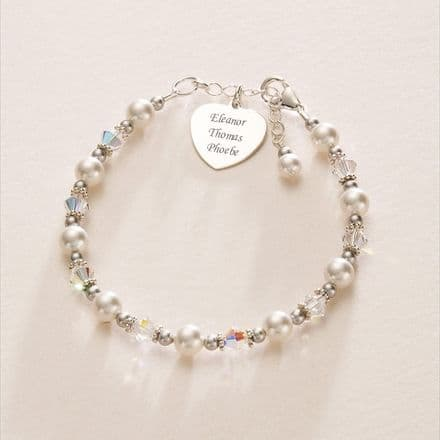 Mothers Bracelet with Engraved Heart