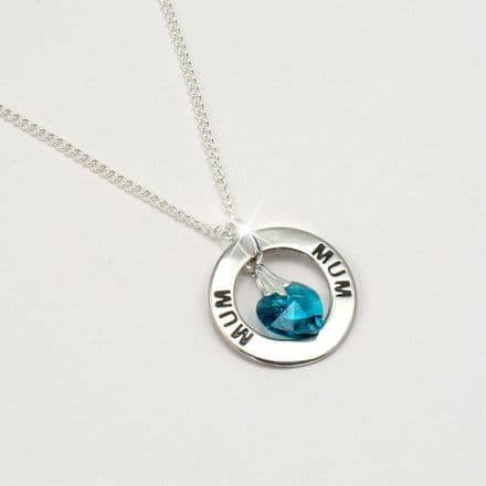 Mum or Mummy Ring Necklace with Birthstone Heart