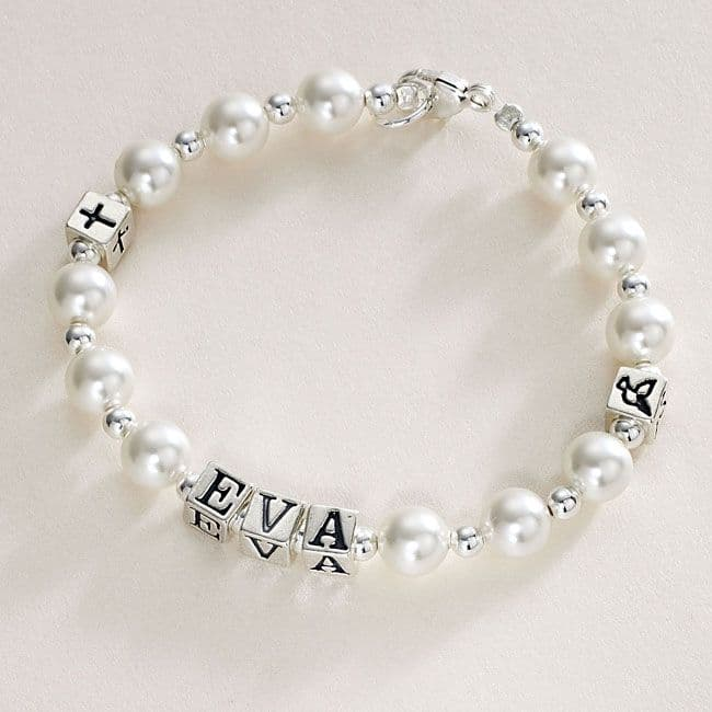 Name Bracelet Pearls and Silver Symbols | Jewels 4 Girls
