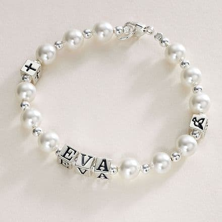 Name Bracelet Pearls and Silver Symbols