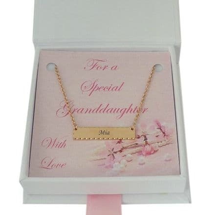 Name Necklace in Special Gift Box, Rose Gold Plated Bar