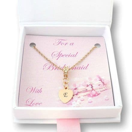 Necklace for Bridesmaid or Flower Girl, Rose Gold, Any Letter