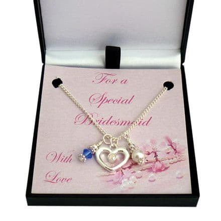 Necklace for Flower Girl or Bridesmaid with Heart, Birthstone and Pearl
