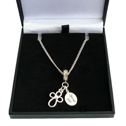 Open Cross Christening Day Necklace with Engraving