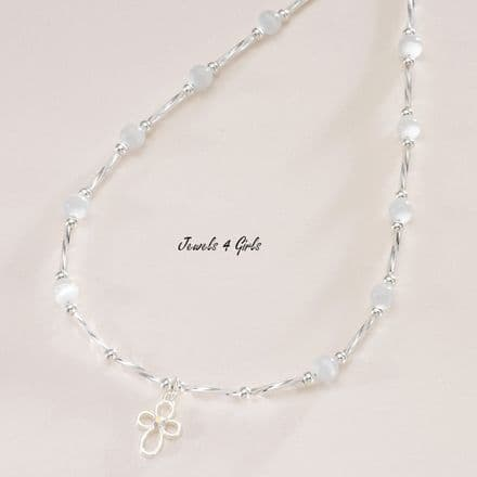 Open Cross Necklace, Christening or Communion Gift