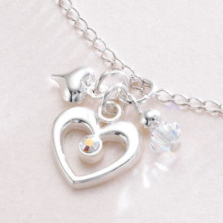 Open Heart, Crystal & Puffed Heart Necklace