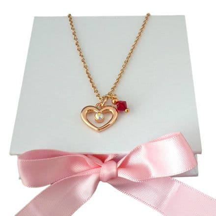 Open Heart Necklace with Birthstone, Rose Gold