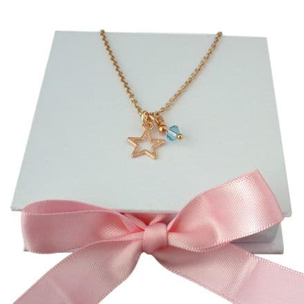 Open Star Necklace with Birthstone, Rose Gold