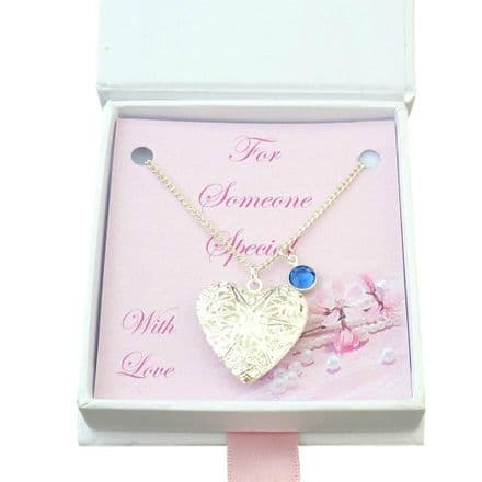 Opening Heart Locket Necklace with Birthstone