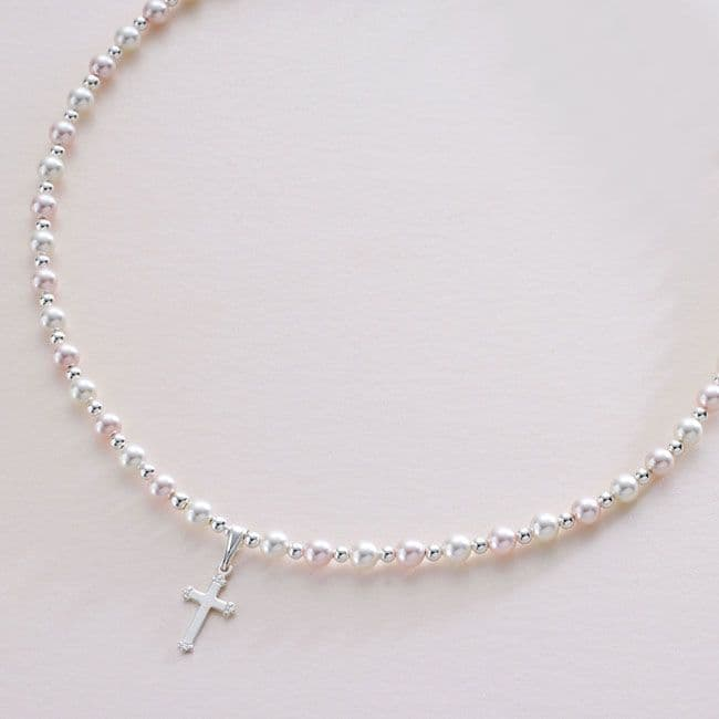 Pearl and Cross Baptism Necklace | Jewels 4 Girls