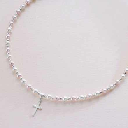 Pearl and Cross Baptism Necklace