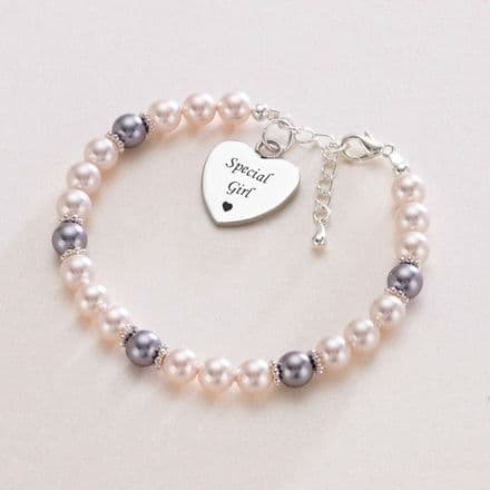 Pearl Bracelet with Personalised Engraving for a Special Girl