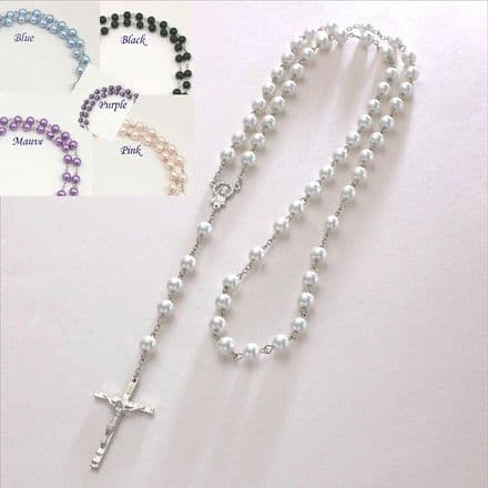 Pearl Rosary Beads in Gift Pouch, Various Colours