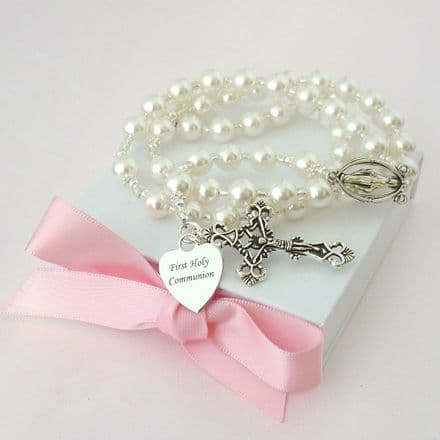Pearl Rosary with Engraved Heart, Many Colours