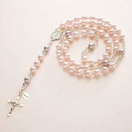 Pearl Rosary with engraved tag