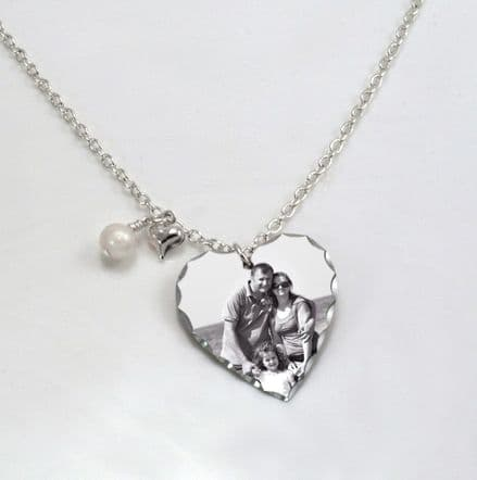 Permanent Photo Heart Necklace with Engraving