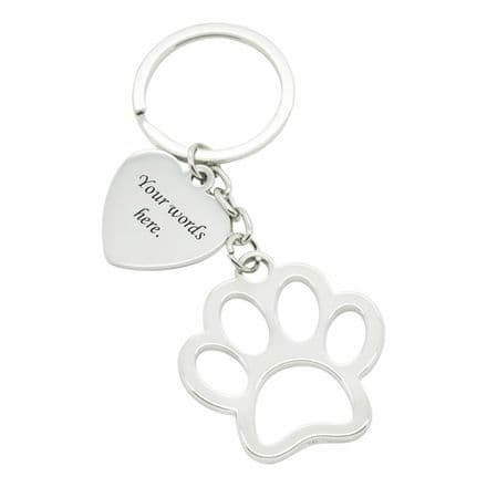 Personalised Animal Paw Keyring with Engraving