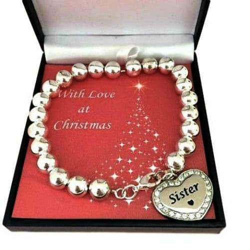 Personalised Beaded Silver Bracelet for Christmas   Jewels 4 Girls