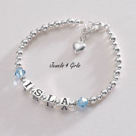 Personalised Birthstone Bracelet with Sterling Silver Beads