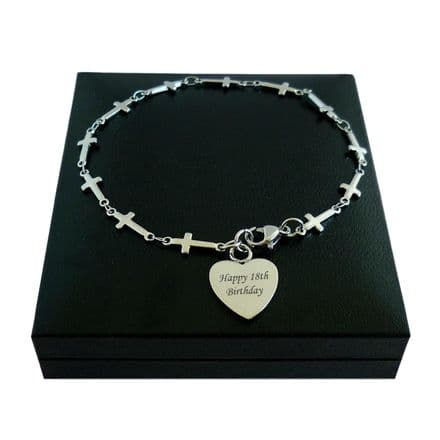Personalised Bracelet with Cross Link Chain